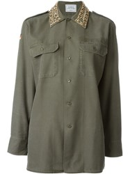 Forte Couture 'Thunder' Embellished Collar Pocket Detail Button Down Shirt Green