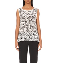 Reiss Tash Print Silk Sleeveless Top Black White