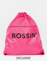 Adolescent Clothing Bossin' Drawstring Backpack Pink And Black