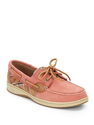 Sperry Bluefish 2 Eye Plaid Boat Shoes Red