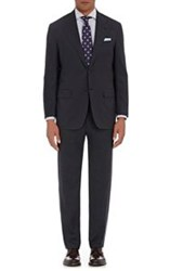 Kiton Men's Micro Striped Worsted Two Button Suit Black