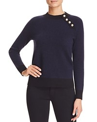 Bloomingdale's C By Jacquard Button Shoulder Cashmere Sweater Black Navy