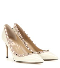 Valentino Rockstud Patent Leather Pumps White