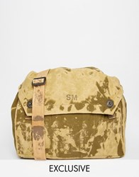 Reclaimed Vintage Messenger Bag With Bleached Effect Brown