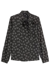 Steffen Schraut The Bow Avenue Printed Silk Blouse Black