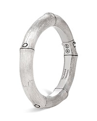 John Hardy Brushed Sterling Silver Bamboo Hinged Bangle