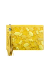Celia Large Beaded Clutch Bag Lemon Drops Rafe