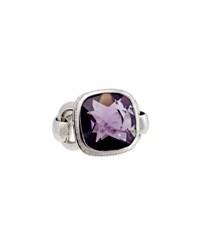 Poiray Indrani 18K White Gold Amethyst And Diamond Ring Purple