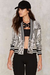 Crack The Code Bomber Jacket Silver
