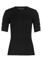 Alexander Wang Cotton Ribbed Top With Studs Black