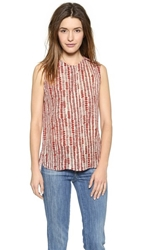 Vince Tribal Dot Silk Blouse Light Cashew Rhubarb