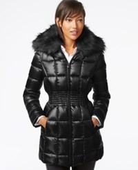 Laundry By Shelli Segal Faux Fur Collar Puffer Down Jacket Black