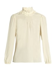 Red Valentino Ruffled Neck Silk Blouse Ivory