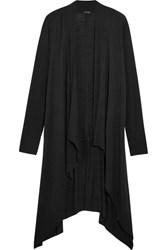 Splendid Luxe Draped Stretch Micro Modal And Cashmere Blend Cardigan Black