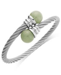 Macy's Green Jade 12Mm Bangle Bracelet In Stainless Steel