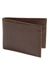 Men's Boconi Lizard Slimfold Wallet Brown