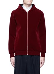 Givenchy Cobra Patch Velvet Zip Hoodie Red
