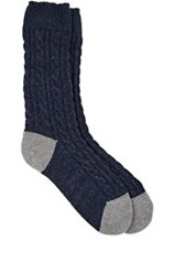 Corgi Cable Knit Mid Calf Socks Blue