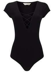 Miss Selfridge Black Cap Sleeve Lattice Body Black