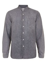 Topman Grey Denim Long Sleeve Casual Shirt