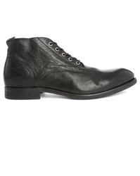 Hudson Black Cooke Leather Dual Material Laced Boots