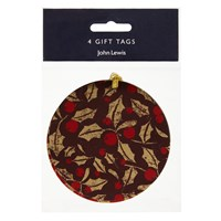 John Lewis Ruskin House Holly Gift Tags Pack Of 4