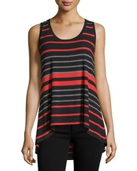 Joan Vass New York Striped Scoop Neck High Low Tank Liquid Lava Combo