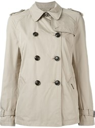 Woolrich Cropped Trench Coat Nude And Neutrals