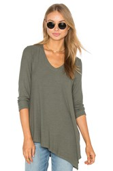 Three Dots Angie Asymmetrical Top Olive