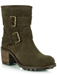 Daniel Surprised Suede Biker Boots Green