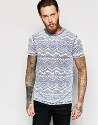 Asos T Shirt With Burnout Wash And Aztec Print In Light Blue Light Blue