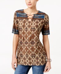 Ny Collection Petite Printed Lace Up Peasant Tunic Tan Sahara