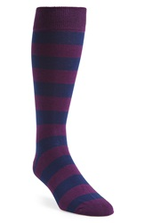 The Tie Bar 'Super Stripe' Socks Navy Purple