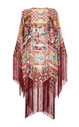 Dolce And Gabbana Printed Fringe Cape Red Yellow Blue