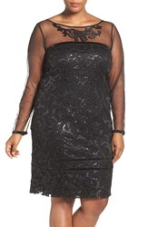 Brianna Plus Size Women's Sequin Lace Sheath Dress With Sheer Illusion