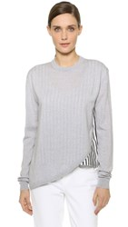 Tibi Asymmetrical Woven Mixed Pullover Heather Grey Multi
