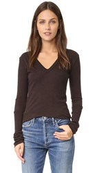 Enza Costa Cashmere Cuffed V Top Deep Brown