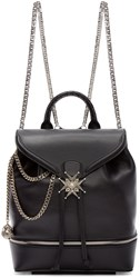 Alexander Mcqueen Black Leather Jewelled Cross Backpack
