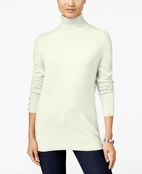 Jm Collection Button Cuff Turtleneck Sweater Only At Macy's Eggshell
