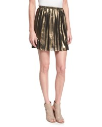 Etoile Isabel Marant Manda Pleated Metallic Mini Skirt Gold