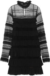 Isabel Marant Trevor Ruffled Silk Georgette And Lace Turtleneck Mini Dress Black