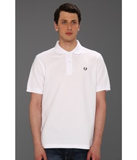 Fred Perry Solid Polo White Navy Men's Short Sleeve Knit