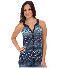 Roper 9757 Leopard Floral Print Mesh S L Top Blue Women's Sleeveless
