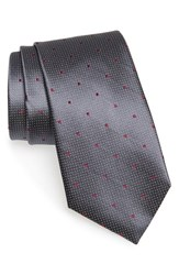Men's Nordstrom Men's Shop 'Holiday Party' Dot Silk Tie Charcoal