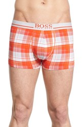 Boss Men's Print Stretch Cotton Boxer Briefs Orange