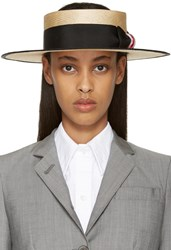 Thom Browne Beige Straw Boater Hat