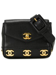 Chanel Vintage Logo Plaque Bum Bag Black