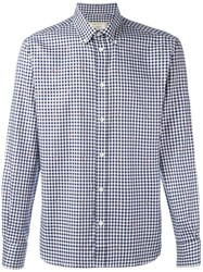 Maison Kitsune Checked Fox Jacquard Shirt Blue