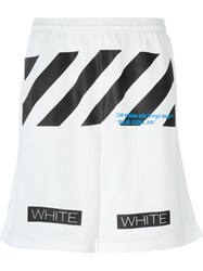 Off White Perforated Printed Track Shorts