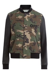 Off White Camouflage Printed Wool Jacket With Leather Sleeves Green